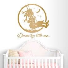 Dream Big Little One Vinyl Wall Sticker Home Decor Nursery Girls Room Decals Moon Star Baby Swing Bedroom Murals Cartoon 3687