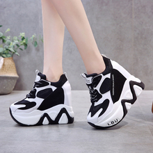 Rimocy super high heels chunky sneakers women autumn thick bottom height increas