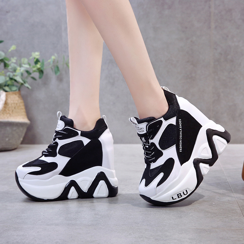 Rimocy Super High Heels Chunky Sneakers Women Autumn Thick Bottom Height Increasing Casual Shoes Woman Mesh Platform Vulcanize