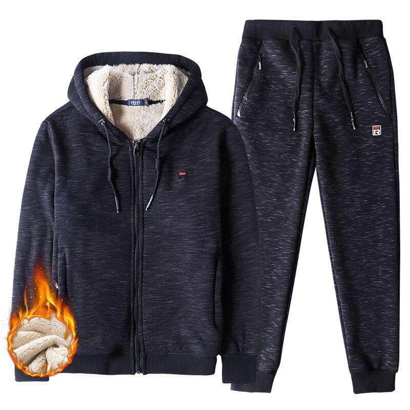 Winter Thick Warm Faux Shearling Hooded Tracksuit Men Sportswear Sweat Suits Jacket+Pants Men's Set Big Size 6XL 7XL 8XL
