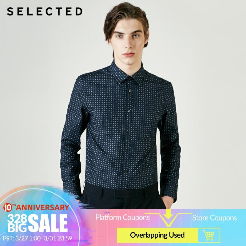 SELECTED Men's 100% Cotton Printed Long-sleeved Shirt S|419105573