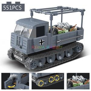 Image 2 - 551PCS גרמנית צבא RSO משוריין משאית עם נשק צבאיים כלי רכב אבני בניין תואם WW2 דמויות צעצועים