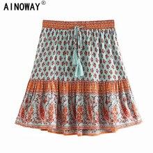 Винтажная шикарная Женская пляжная богемная юбка с цветочным принтом и высокой эластичной талией, трапециевидная мини юбка Boho Femme