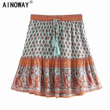 Vintage chic happie women floral print beach Bohemian skirt High Elastic Waist rayon A Line Boho Mini Skirts Femme