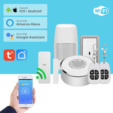 Kit de sistema de seguridad inteligente para casa con WiFi, Alarma para puertas y ventanas, Sensor de movimiento PIR, aplicación de notificación Compatible con Alexa Google Home