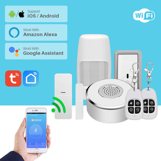 WiFi Smart Home Security System Kit Door Window Alarm PIR Motion Sensor APP Notification Compatible With Alexa Google Home