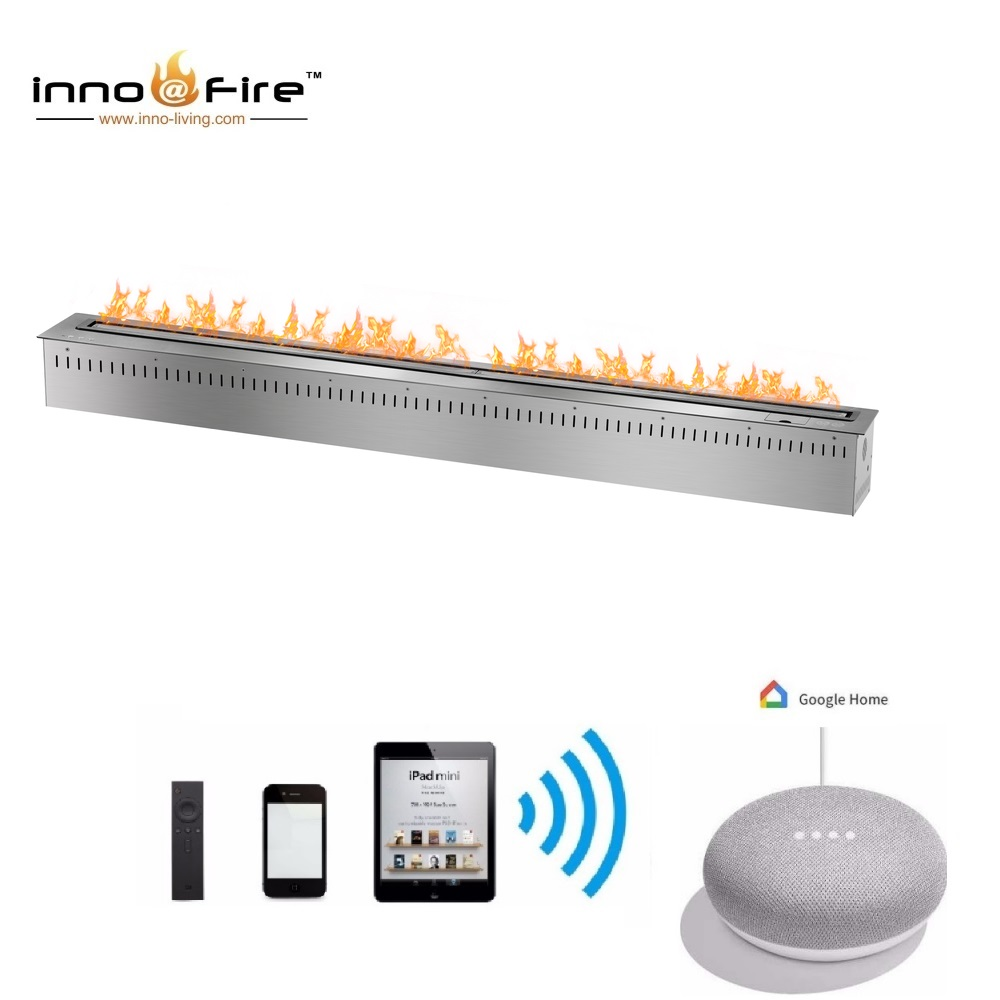 Hot Sale 60 Inches Silver Or Black Wifi Intelligent Smart Bioethanol Fireplace Insert Burner