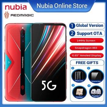Перейти на Алиэкспресс и купить Глобальная версия Nubia красный Магия 5S игровой телефон 6,65 дюйм12 Гб Оперативная память 256 ГБ Встроенная память Snapdragon 865 рамка Redmagic 5S NFC 5G dual SIM Смарт ...