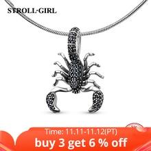 Stroll girlแนะนำสัตว์แมงป่องเสน่ห์ด้วยสีดำCZ 925เงินสเตอร์ลิงลูกปัดพอดีต้นฉบับp andoraสร้อยข้อมือเครื่องประดับของขวัญ