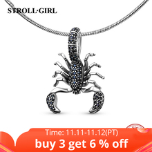 StrollGirl recommend animal Scorpion charms with black CZ 925 silver sterling beads fit original charm bracelets jewelry gifts