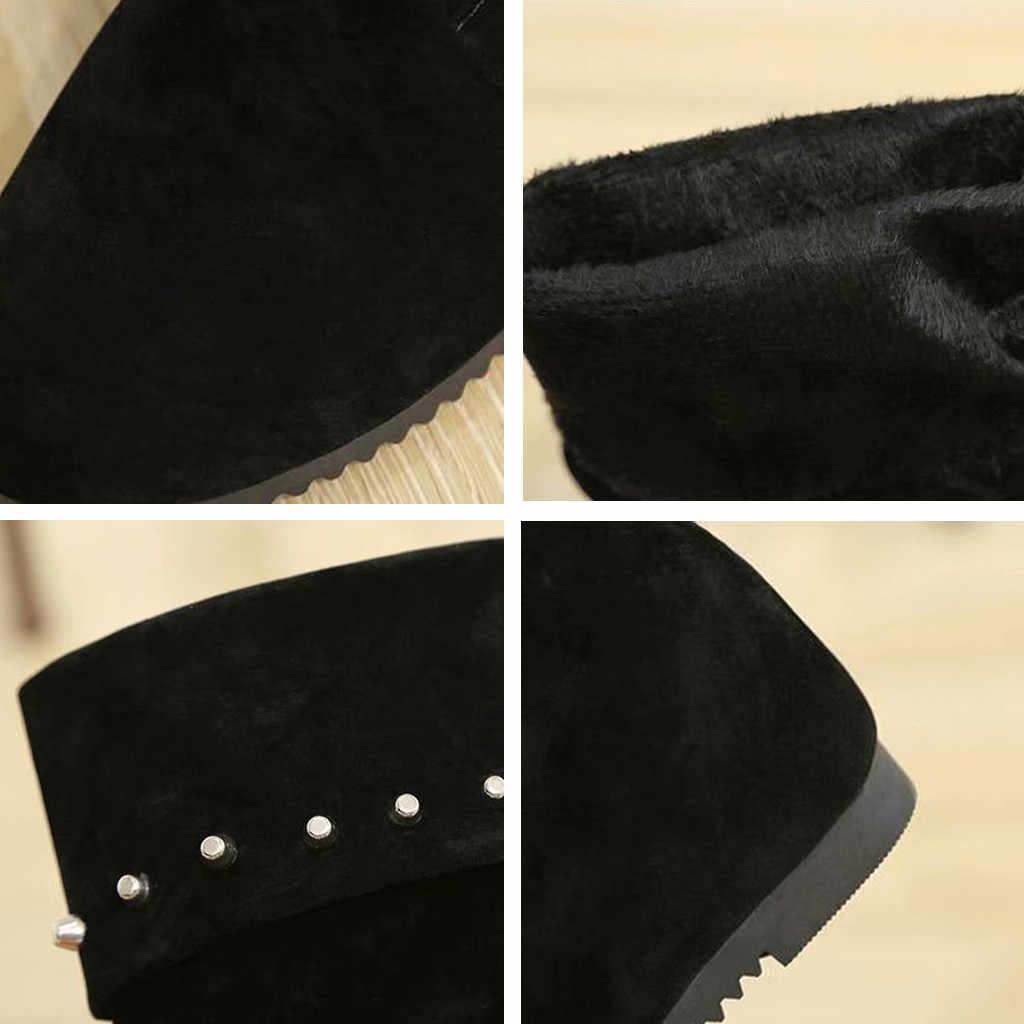 ผู้หญิง Retro Rivets ฤดูหนาวสายคล้องหิมะเข่า Bootie WARM Causal WARM รองเท้ากันลื่นสำหรับสุภาพสตรีเข่า-ยาวรองเท้า
