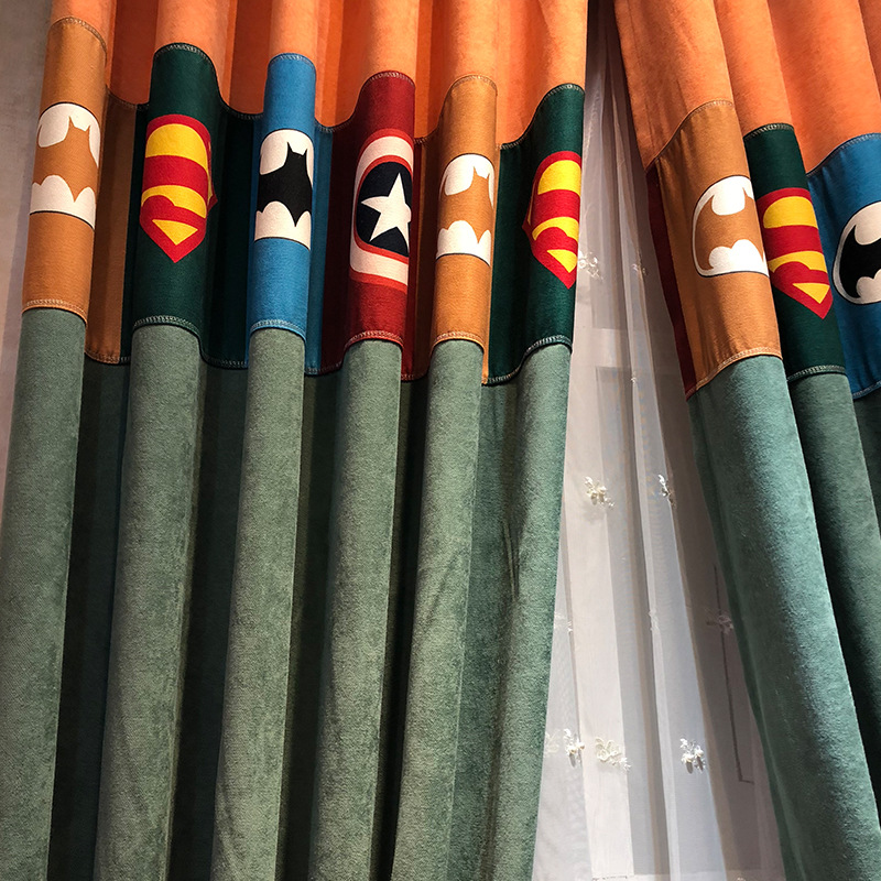 Captain American Kids Curtain Mediterranean Style Chevy Splice Blackout Curtains for Living Dining Bedroom boys girls