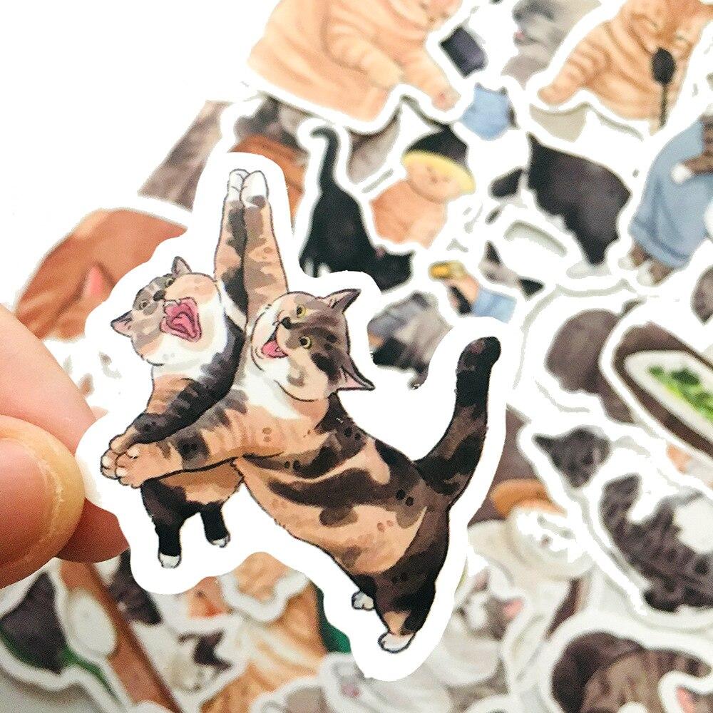 54 шт. милые кошки животные Граффити стикер смешанный стиль игрушки для чемодана ноутбука велосипеда багажа автомобиля скутера скейтборда с...