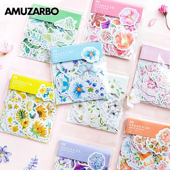 Fresh Sunshine Flowers Sealing Sticker Diary Handaccount DIY Decoration Label Stickers Gift Material Stationery 45pcs/pack image