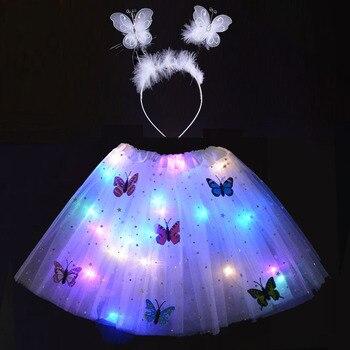 Christmas LED Glow Light Princess Tutu Skirt Adult Women Clothing Ballet Wear Wedding Party Headband Butterfly Costume Cosplay party glow bangle fluorescence light glow bracelets necklaces neon wedding christmas party glow bangle bright colorful bangle
