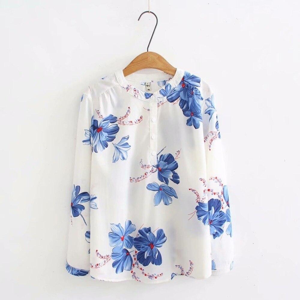 Grande taille blanc & rouge & noir bloemenprint blouses vrouwen décontracté o-hals lange mouw Lente herfst mousseline de soie dames hauts
