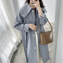 Khaki Large Collar Over-the-knee Long Trench Coat Women Korean Loose Thin Coat
