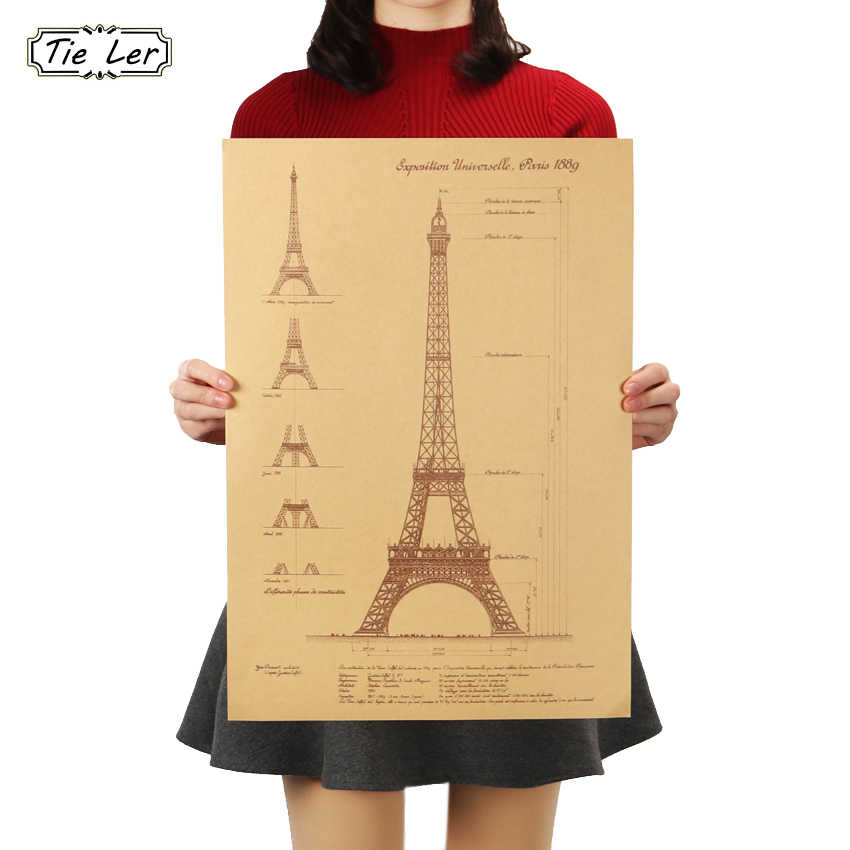 TIE LER Paris Tower Hand Drawn Sketches Retro Kraft Paper Poster Wall Stickers Bar Cafe Home Decorative Paintings 51.5X36cm