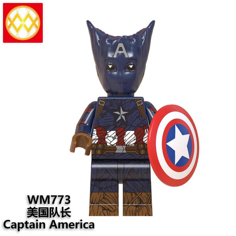 Disfraz de Wolverine Thanos Capitán América Batman Bucky Deadpool Hulk Thor bloques de construcción juguetes WM6070 envío gratis
