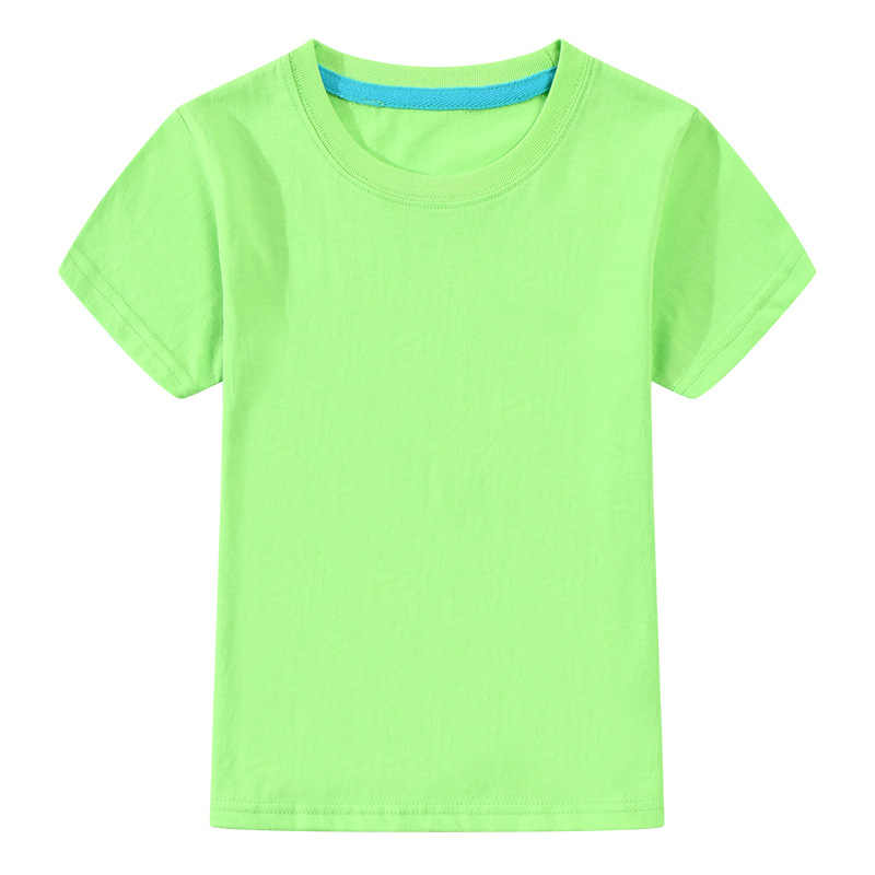 T-shirt For Boys Girls Summer Tees Solid Color Tops For 3-12T Children Teens Summer Clothing A101 Short Sleeve Cotton T-Shirt