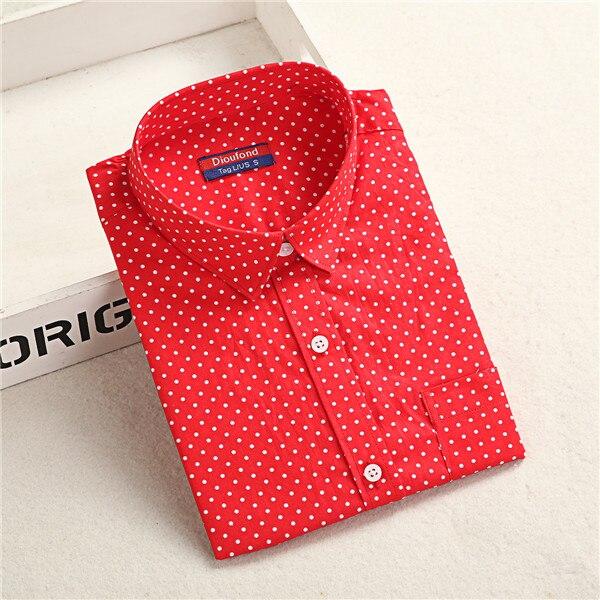 Dioufond, Хлопковая женская рубашка, блуза с длинным рукавом, красный горошек, Blusas Femininas, 5XL размера плюс, отложной воротник, женские модные топы - Цвет: Reddot