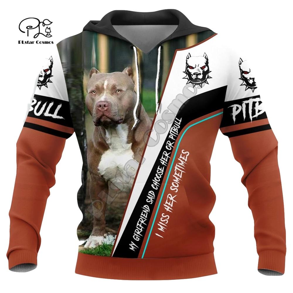Mens Funny pitbull Dogs 3d print hoodies autumn long sleeve Sweatshirts women pullover tracksuit hood hoody outwear