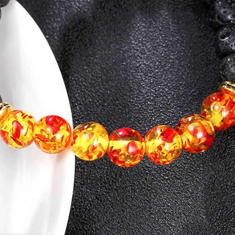 Hot Jual Damar Lava Batu Alam Manik Gelang Chakra Batu Perhiasan Wanita Pria Yoga Peregangan Gelang Hadiah