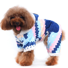 New pet clothes dog clothes autumn and winter clothes thickened cotton clothes dog four feet clothes fresh blue waves dog jacket