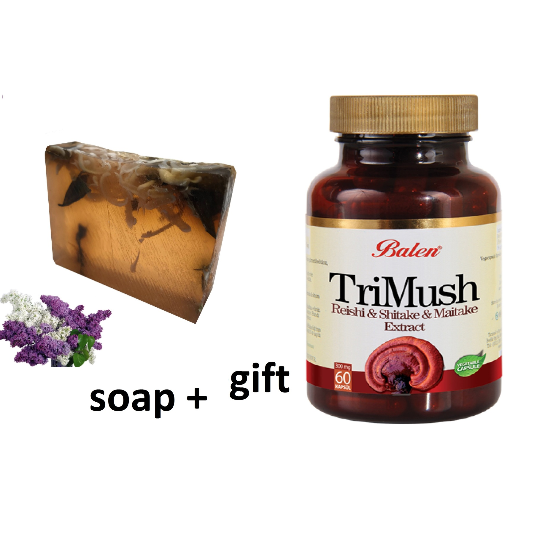 (gift Items)HANDMADE LILAC Essential Oil 100gr Soap+Gift Food Supplement Reishi Shiitake Maytake Mushroom Extract S