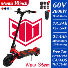 Kaabo mantis10 pro + 2000w duplo motor e-scooter lg bateria 60v 24.5ah scooter elétrico de duas rodas skate dobrável hidráulico