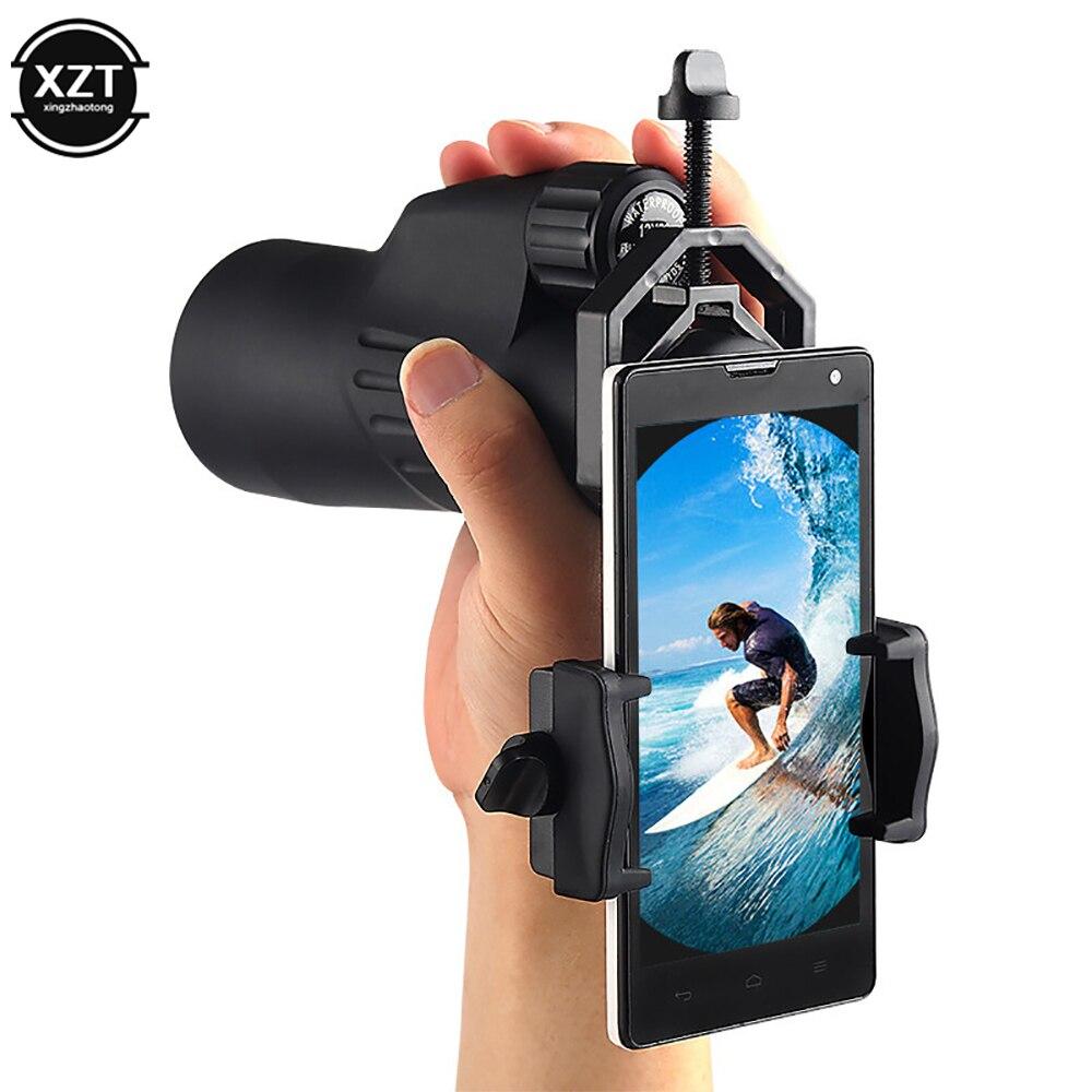 Adaptador universal de telescópio, suporte monocular binocular de montagem de clipe de telefone celular modelo d 25-48mm