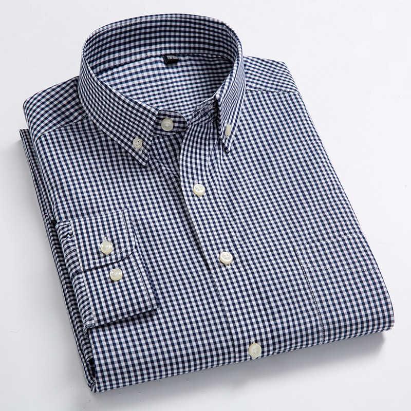 Nuovo Arrivo degli uomini di Oxford Lavare e Usura Plaid Camicette 100% Cotone Casual Camicette di Alta Qualità di Disegno di Modo degli uomini camicie eleganti