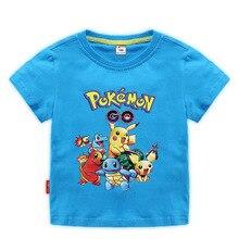 купить 2-10Y Hot Sale Anime Pokemon Go Pika Logo Print Kids T-shirts Children Pikachu Summer Cotton Baby Clothes Boys/Girls Tops Tees дешево