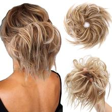 Hair-Extensions Buns Ponytail Messy Elastic Scrunchies-Wrap Chignon Donut Curly Synthetic