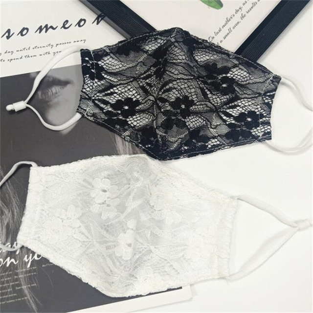 10pcs/lot Summer Korean women sexy lace mask female double-layer cotton thin breathable cold fabric dust-proof hanging ear mask