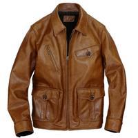 Batik cowhide American retro Amekaji newsboy model of leather garment leather jacket