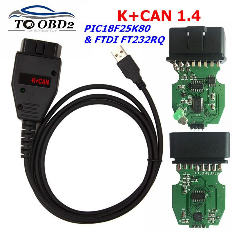 For VAG K+CAN Commander 1.4 Diagnostic Scanner Tool OBDII For VAG 1.4 COM Cable For Vag PIC18F25K80 FTDI FT232RQ Chip Free Ship