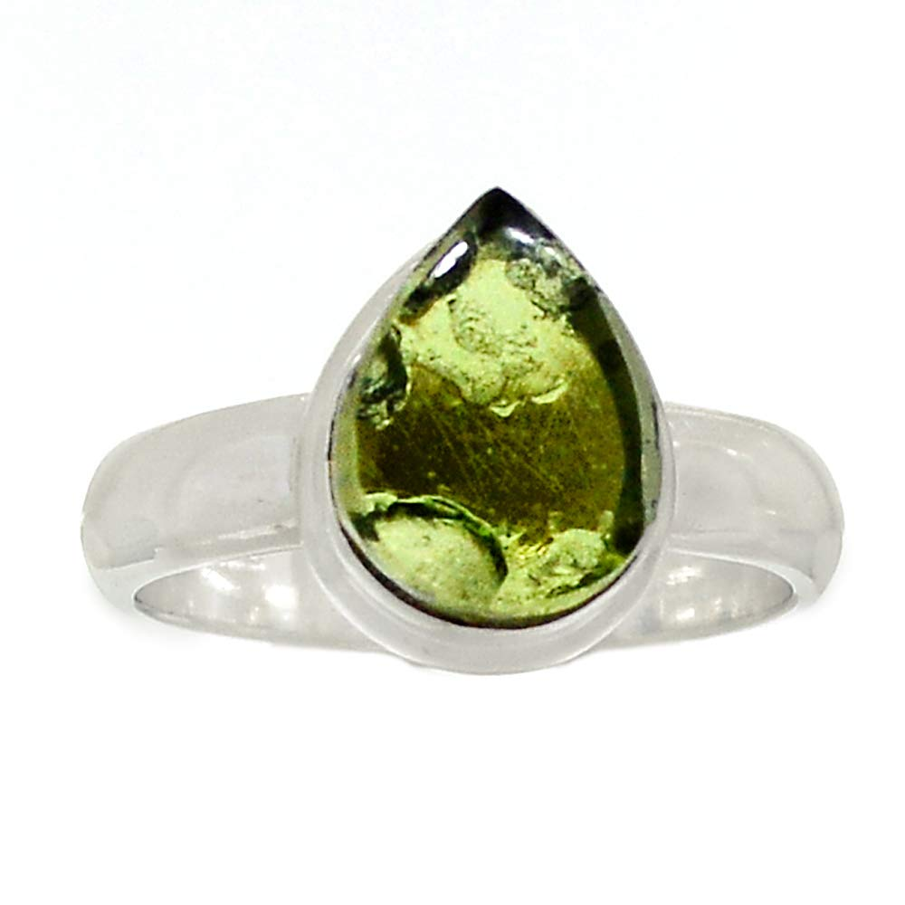 Genuine CABOSHON MOLDAVITE Ring 925 Sterling Silver, USA Size : 7, AR4079