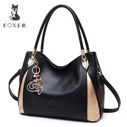 FOXER брендовая мягкая женская сумка через плечо из натуральной кожи, однотонная разноцветная женская сумка с бесплатной доставкой