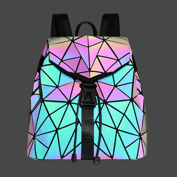 Women Backpack Schoolbag Foldable Crossbody Bag for Ladies  Luminous Geometric Drawstring Holographic