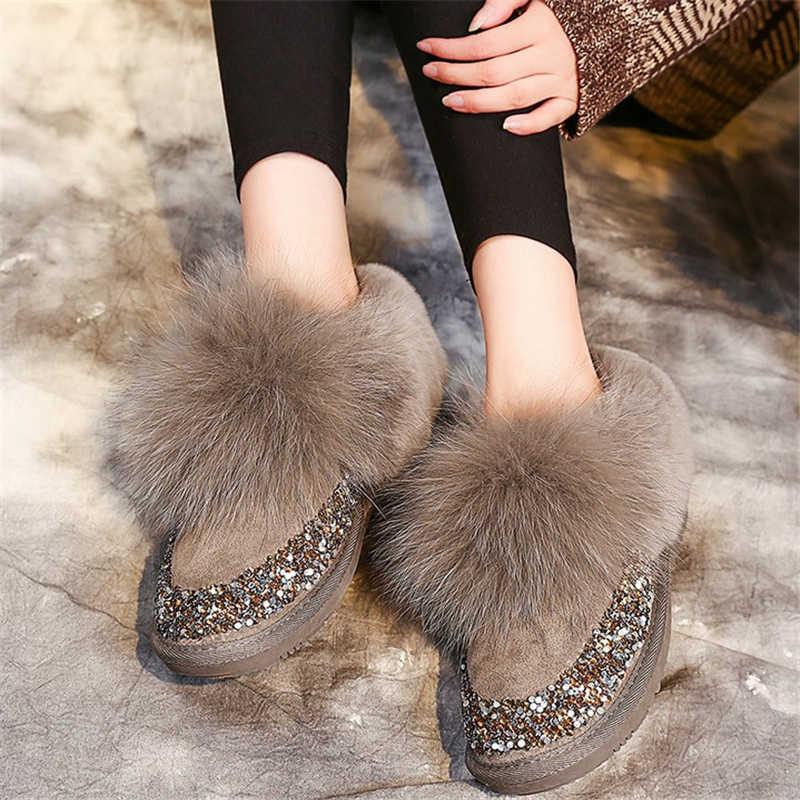 JIANBUDAN Sequin lederen Pluche vrouwen snowboots Winter warm Vos haar enkellaarsjes Zachte pluche vrouwen platte katoen schoenen 35-40