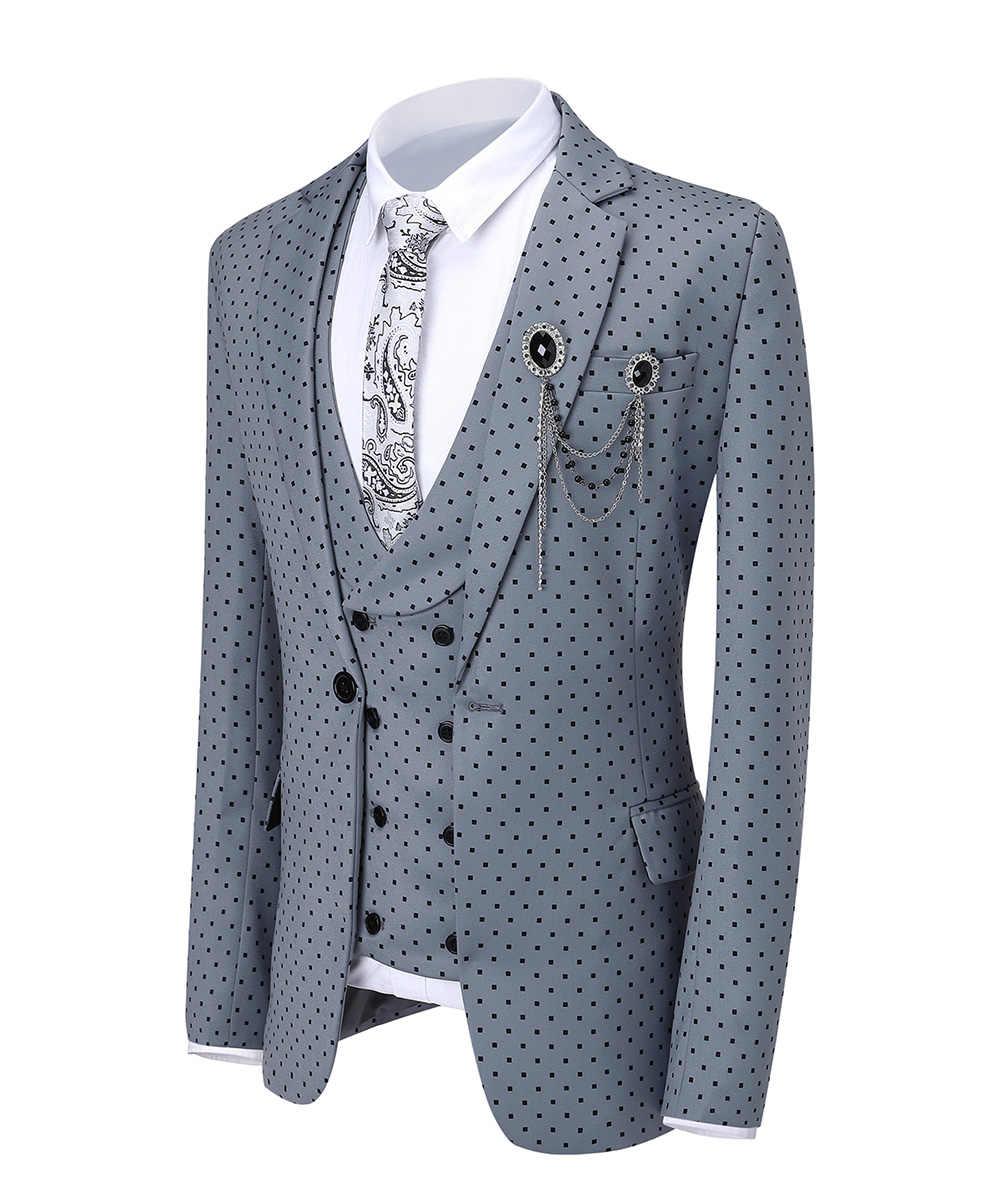 Drie Stukken Mannen Bruiloft Pak Drie Stukken Dots Gedrukt Slim Fit Notch Revers Smoking Slipjas Beste Mannen Double Breasted vest