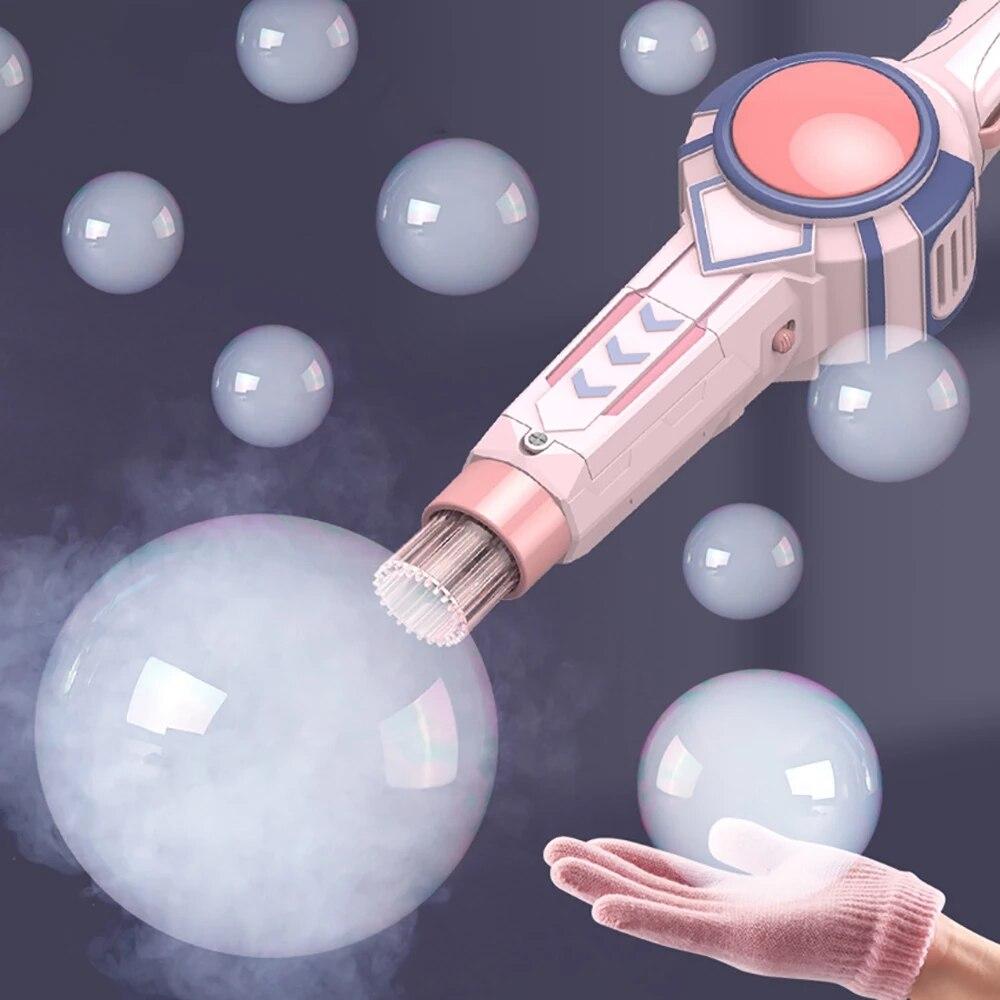 Bubble Machine Bubble Gun Bubble Maker Electric Spray Smoke Fog Bubbles Blower Toy With Gloves Bubbles Making Wand Kids Gift