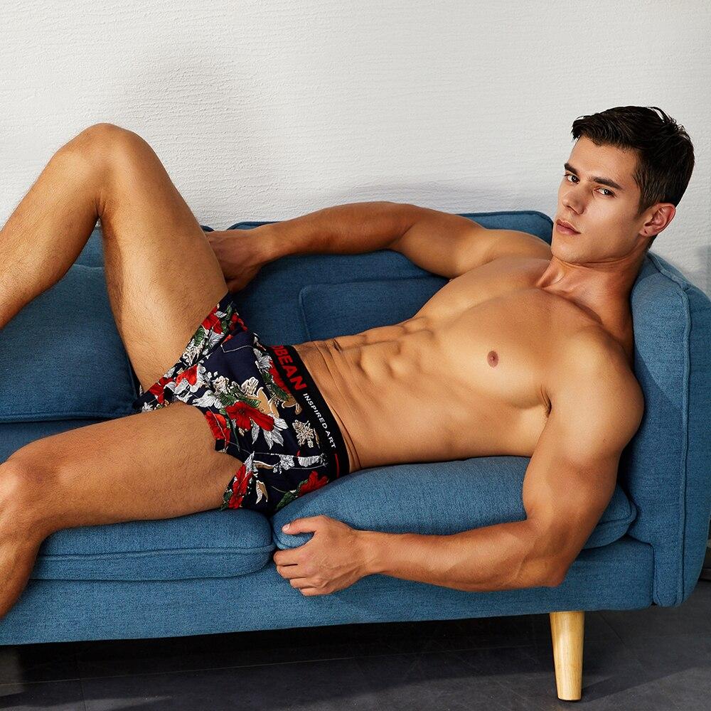 Men's Home Shorts Viscose Material Home Wearing Middle Waist Sexy Casual Sleepwear Loose Short  Pajama Pants Sleep