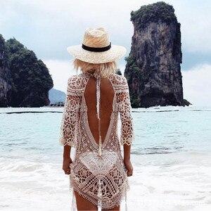 Летний женский ажурный купальник с цветочным кружевом, вязаный крючком, купальный костюм, Пляжная туника, Пляжное платье, сексуальное бикин...