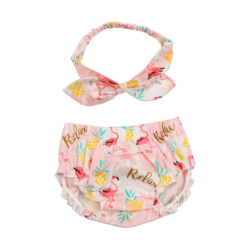 Fashion Baby Bloomers & Headband Set Baby Boy Girl Cotton Cherry Pattern Ruffle Diaper Cover Toddler Cotton Shorts Clothes