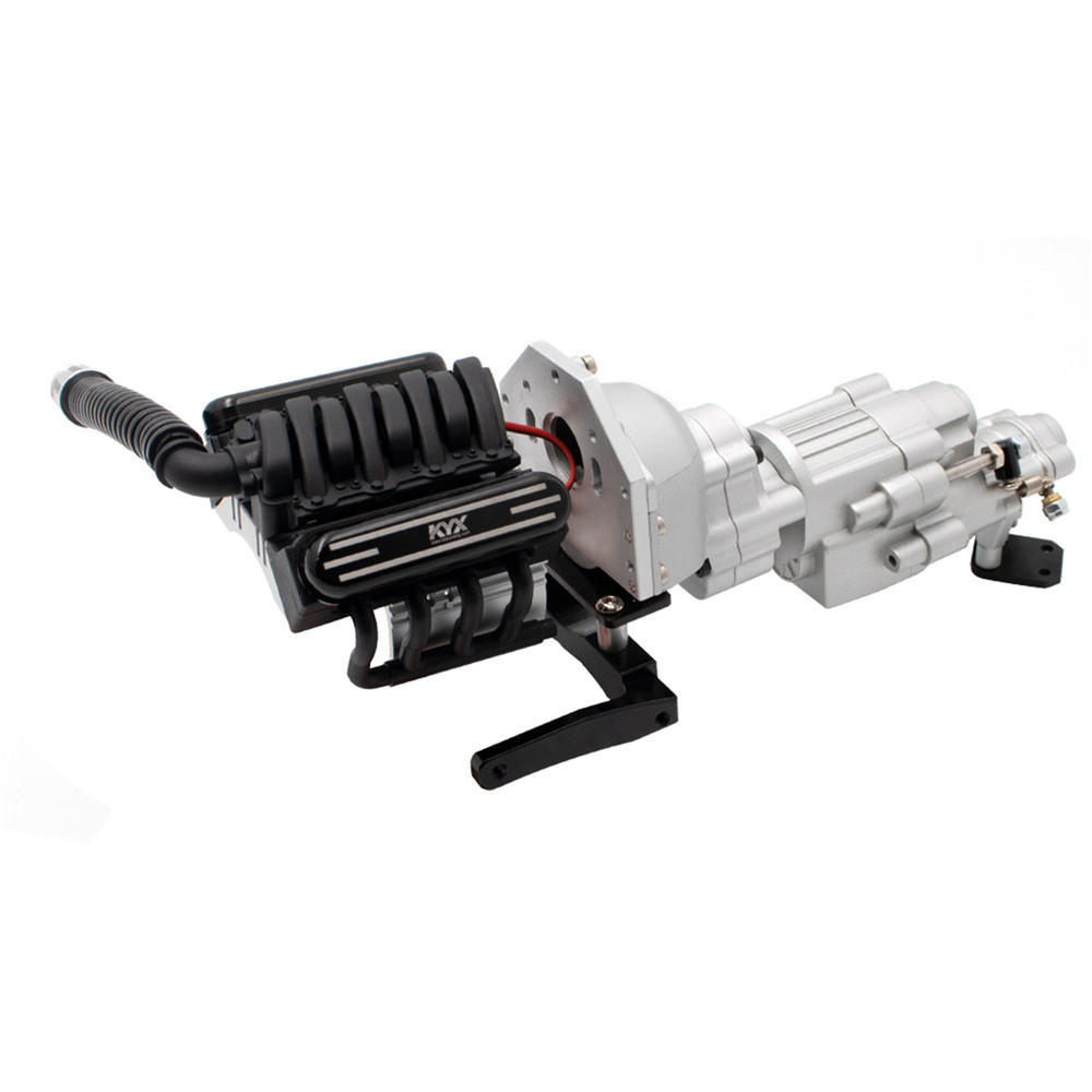 V8 Engine Double Speed <font><b>Gearbox</b></font> Wavebox With Cooler Heatsink for KYX 1/10 SCX10 II 90046 <font><b>RC</b></font> Parts fit 36mm <font><b>motor</b></font> image