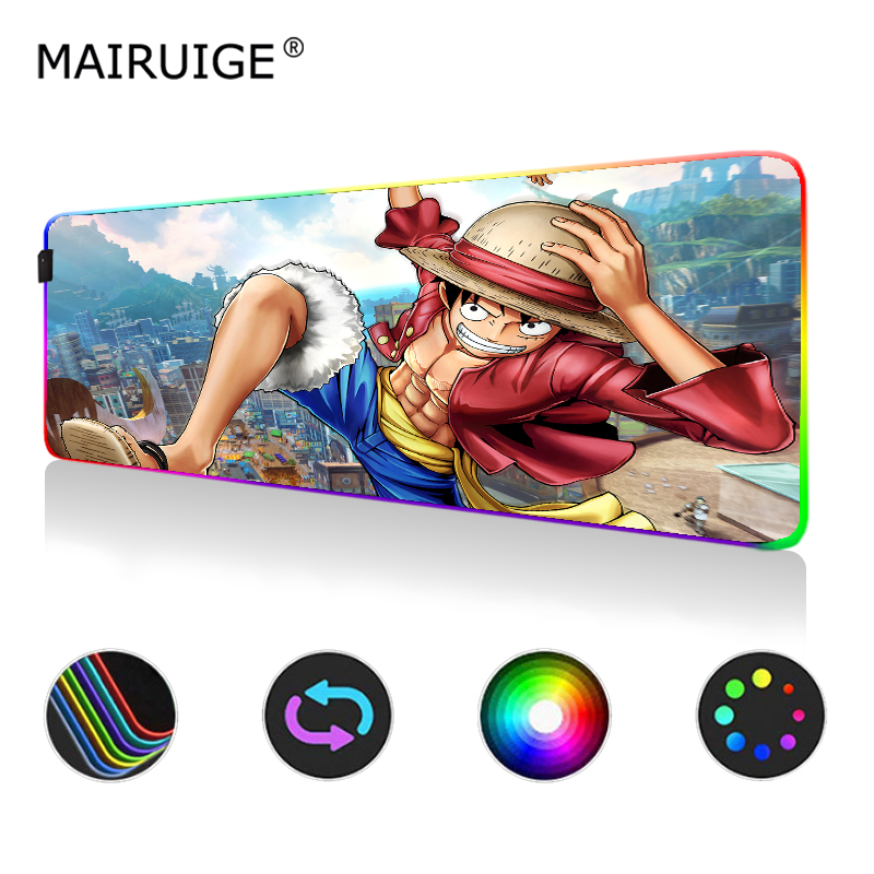 Naruto One Piece Anime RGB <font><b>Mouse</b></font> <font><b>Pad</b></font> <font><b>Large</b></font> LED Light Color Gamer Computer Gaming MousePad Desktop <font><b>Pad</b></font> with Backlight 900x400 image