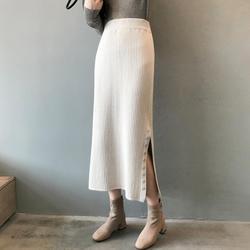 Nueva falda de punto larga con una sola hilera de botones para Mujer Faldas elásticas Mujer Moda 2019 invierno elegante negro cálido envolver Faldas de lápiz