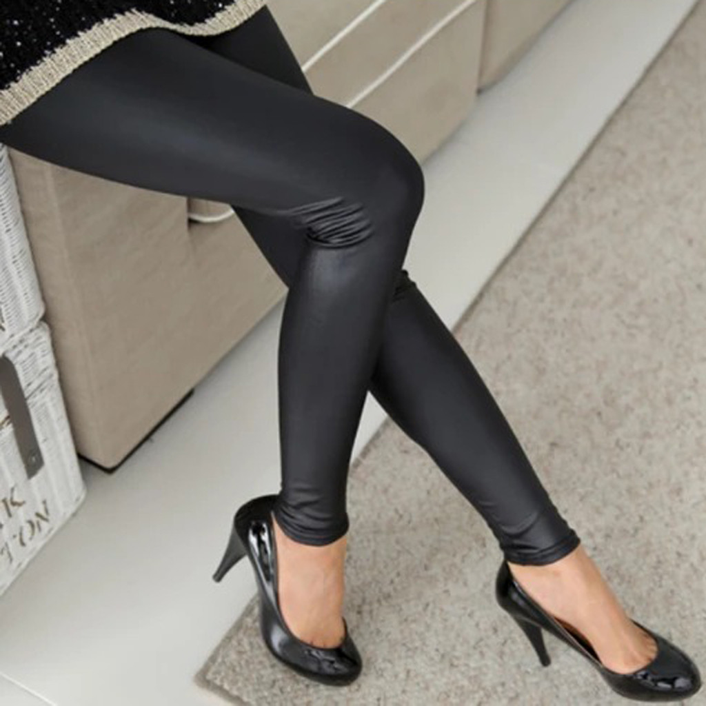 Thin Leggings Faux Leather Pants Fashion Womens Plus Size Solid Casual Stretchy Sexy Black Leggings Pants Girls Trousers